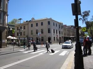 City street in Sydney, Australia, with Orient Hotel