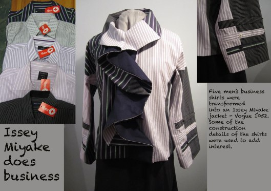 Jacket made from an Issey Miyae pattern out of cast off men's shirts