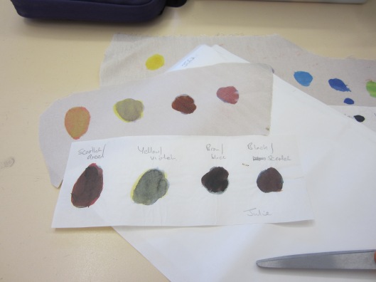 test strip of mixed dye colours